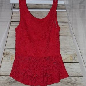 Ambiance Apparel Red Lace Shirt